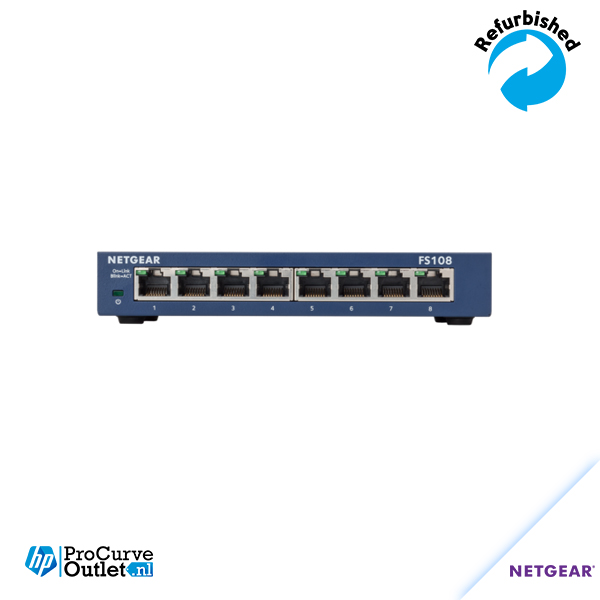 NetGear FS108 8 Port 10/100 Mbps Desktop Switch inclusief voeding